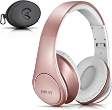 Bluetooth Headphones Over Ear, Mkay Wireless Stereo Headset with Deep Bass, Foldable & Lightweight, Perfect for Cell Phone/TV/PC and Travelling (Rose Gold)