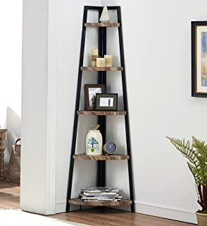 O&K FURNITURE 5 Shelf Industrial Corner Bookcase and...
