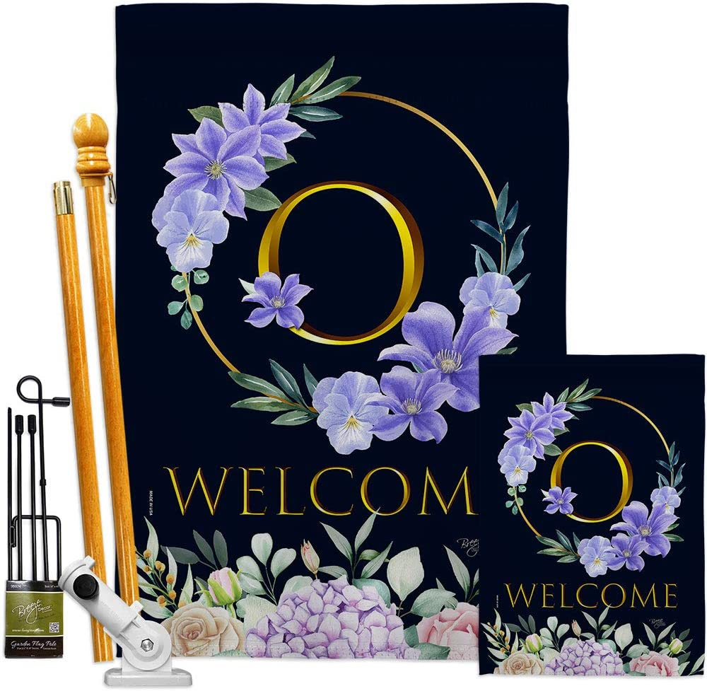 Floral Welcome O trend rank Initial Garden Flags Monogram Kit Jacksonville Mall House Spring
