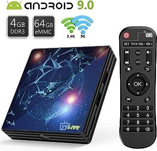 TV Box 9.0, Android TV Box 4 GB RAM 64 GB ROM, Livebox L1 Plus Quad Core 64 bit Smart TV Box, Wi-Fi-Dual 5G/2.4G, BT 4.1, Box TV UHD 4K TV, USB 3.0 (RK3318)