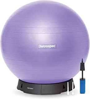 Retrospec Luna Exercise Ball, Base & Pump with Anti-Burst Material, Perfect for Balance, Stability, Yoga & Pilates; 55cm, Black