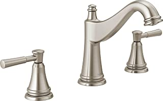 Delta Faucet Mylan 2-Handle Widespread Bathroom Faucet with Drain Assembly and Worry-Free Drain Catch, SpotShield Brushed Nickel 35777LF-SP