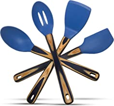 Silicone Spatulas and Cooking Spoons, Kitchen Utensils Gift Box Set of 4 with Pakkawood Handles in Blue Dazzle/Navy Blue - Kitchen Tools and Gadgets by Kitchen Charisma