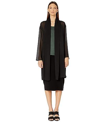 Eileen Fisher Sheer Silk Georgette Kimono Knee Length Jacket (Black) Women