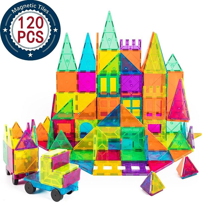 cossy Kids Magnet Toys Magnet Building Tiles, 120 Pcs 3D Magnetic Building Blocks Set, Educational Toys for Kids Children