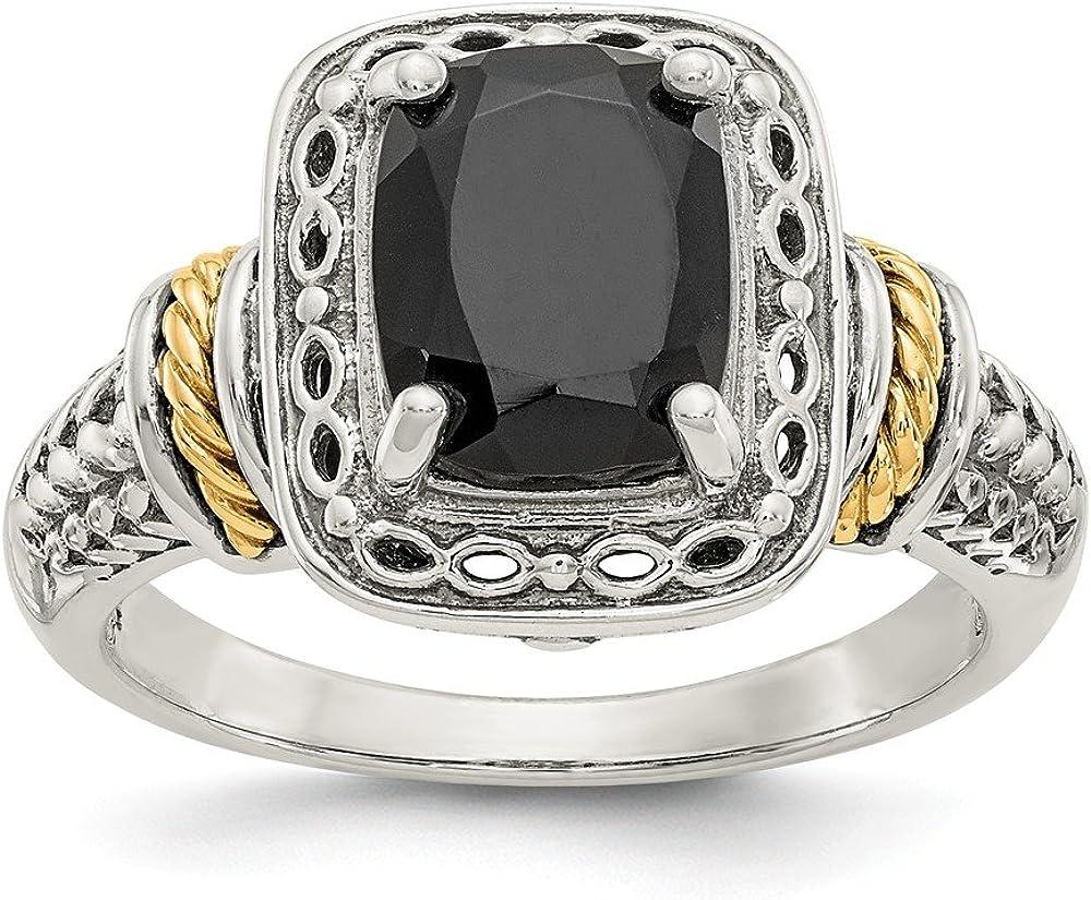 925 Genuine Free Max 54% OFF Shipping Sterling Silver 14k Black Onyx Gemstone Stone Fine Ring Band