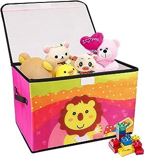 Redmoo Boite de Rangement Enfant, coffre à jouets pour chambres d'enfants, panier de rangement pliable de dessin animé ave...