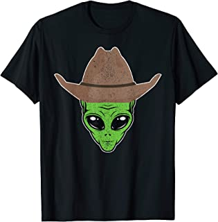 Alien Cowboy Hat Funny Halloween Gift for Outer Space Lover T-Shirt