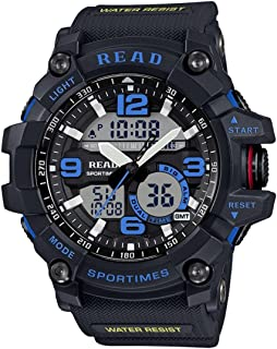 Lanbinxiang@  Read R90001 30m Waterproof Luminous and Alarm and Date and Week Display Function Quartz Sports Men's Sports Watch with Rubber Band Fashion (Color : Blue)