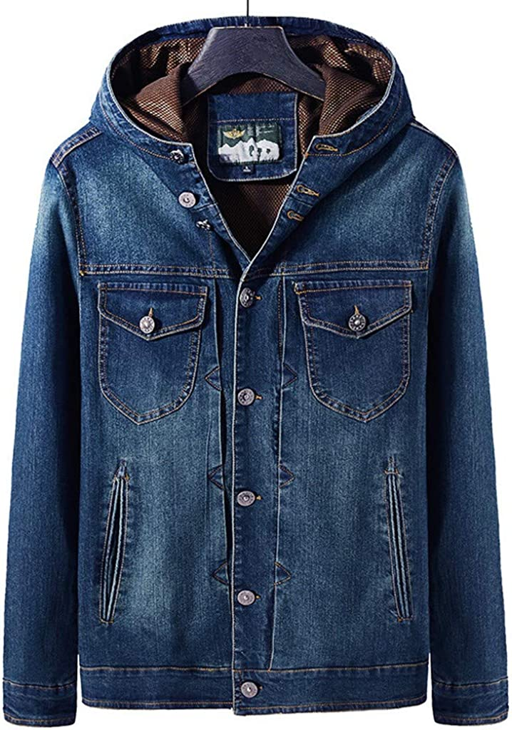JSPOYOU Men's Hooded Jean Jacket Long Sleeve Button Down Quilted Lined Denim Jacket Coats Casual Slim Fit Outwear