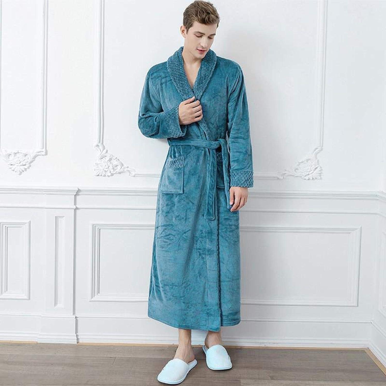 STJDM Nightgown,Couple Long Coral Fleece Robe Winter New Kimono Gown Warm Thicken Sleepwear Lovers Flannel Bathrobe Gown Casual Home Clothing XL Men7
