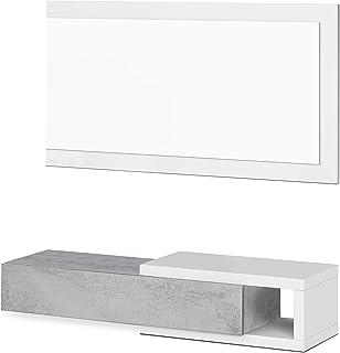 Habitdesign Recibidor con cajón y Espejo Mueble de Entrada Modelo Noon Acabado en Blanco Artik y Gris Cemento Medidas:...