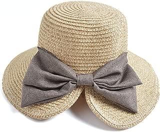 CBriskaari Womens Large Bowknot Straw Hat Ladies Beach Sun Hat Floppy Hat for Holiday Travel