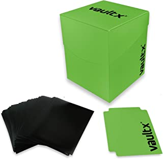 Vault X Deck Box and 150 Black Card Sleeves - Large Size for 120-130 Sleeved Cards - PVC Free Card Holder for TCG (Green)