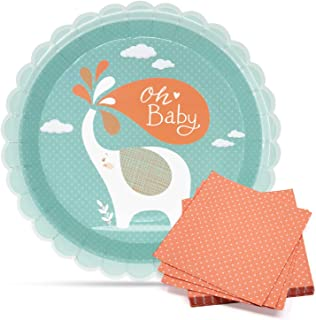 Baby shower plates and Napkin set - Disposable mint and peach 400 gsm paper Dinnerware-3-ply Cocktail Napkins with White P...