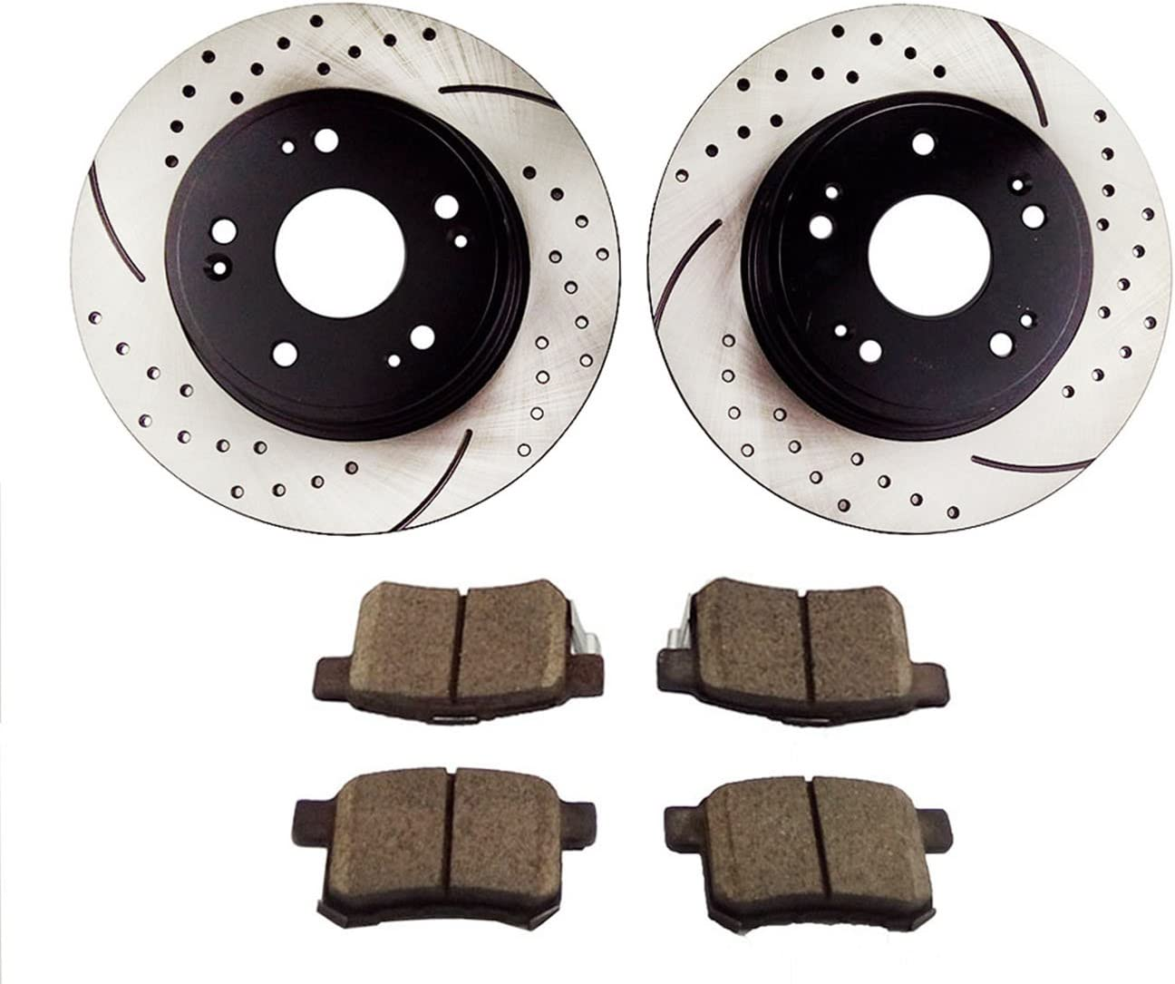 Atmansta QPD10029 Rear Daily bargain sale Brake kit Drilled Slotted with Rotors and Max 66% OFF