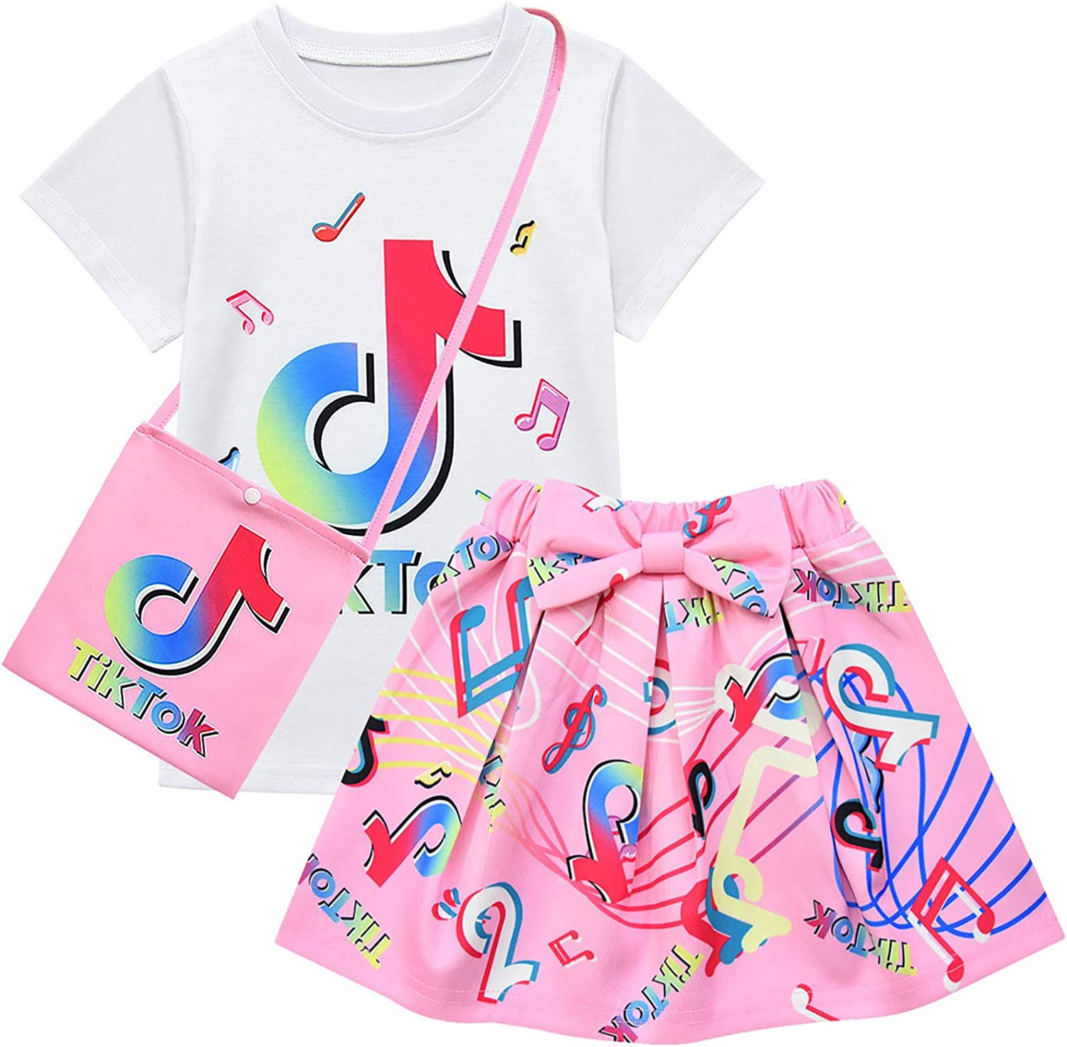 Buy 3pcs Tik Tok Girl Skirt Sets T Shirt Top Bowknot Skirt With Bag Outfits 3 4t Pink Online In Indonesia B092s2qght