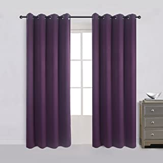 Cherry Home Room Darkening Solid Blackout Curtain With Metallic Grommet, Length 84 Inch by Wide 52 Inch,Purple,1 Panel