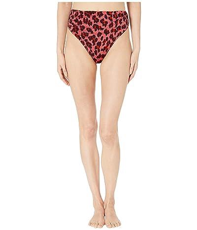 Stella McCartney Ballet Draped High-Waist Bikini Bottoms (Pink Leopard) Women