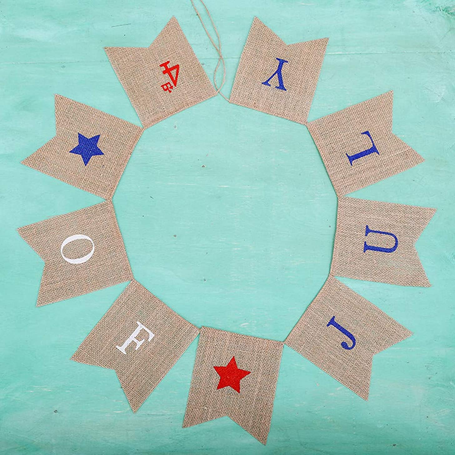 VEZARON Red White and Blue Stars Banner, Patriotic 4th of July Decorations American Independence Day Garden Flag Garland Burlap Bunting Sign (Multicolor)