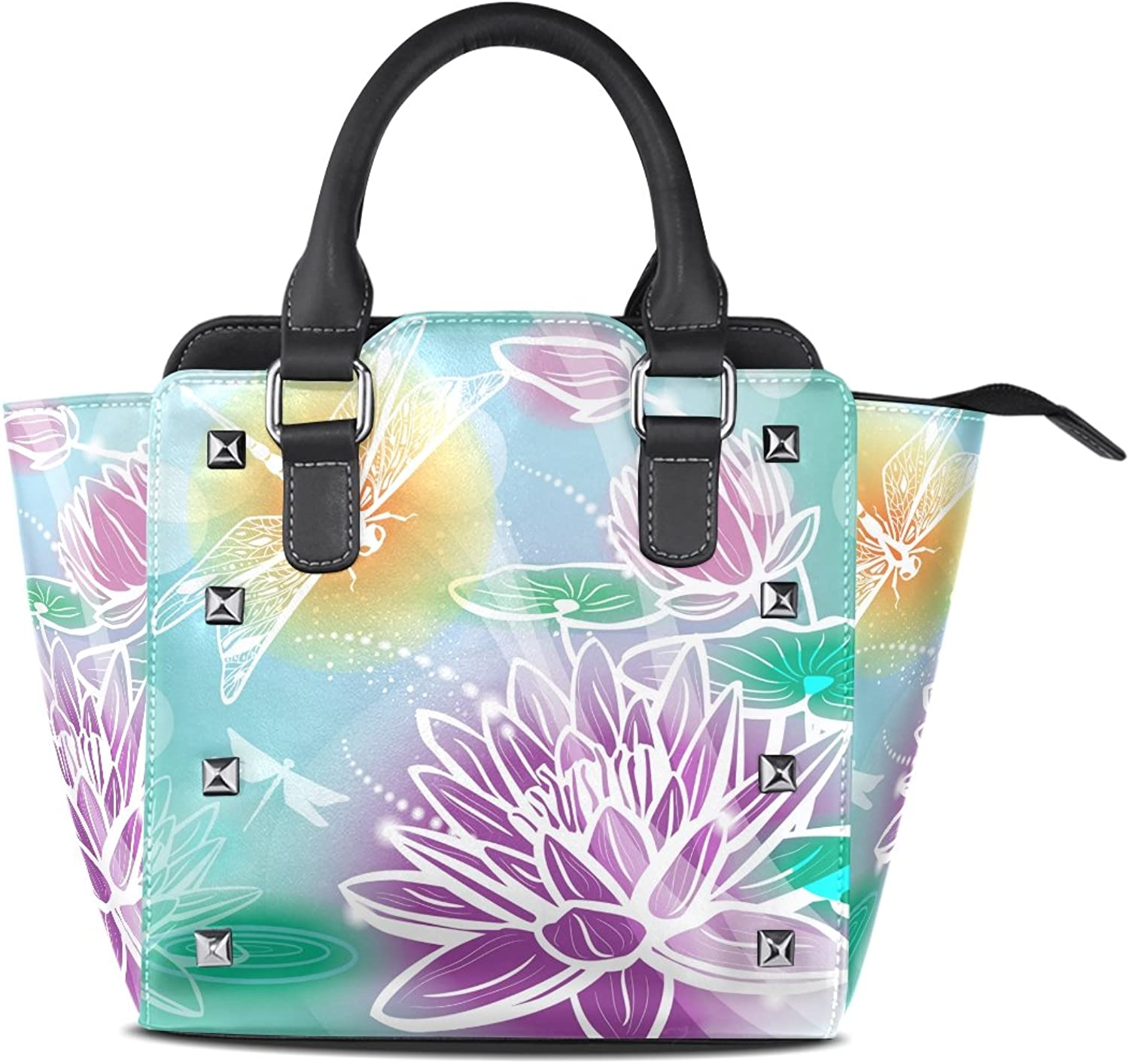 Sunlome Retro Dragonfly Floral Print Women's Leather Tote Shoulder Bags Handbags