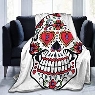 Loveful Personalized Micro Fleece Plush Soft Baby Blanket Mexican Skull Fluffy Warm Toddler Bed/Crib Blanket Lightweight Flannel Daycare Nap Kids Sleeping Tummy Time Throw Blanket Girls Boy