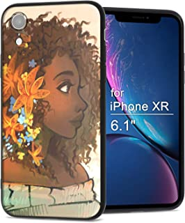 iPhone XR Case African American Afro Girls Women Slim Fit Shockproof Bumper Cheap Cell Phone Accessories Thin Soft Black TPU Protective Apple iPhone XR Cases (07)