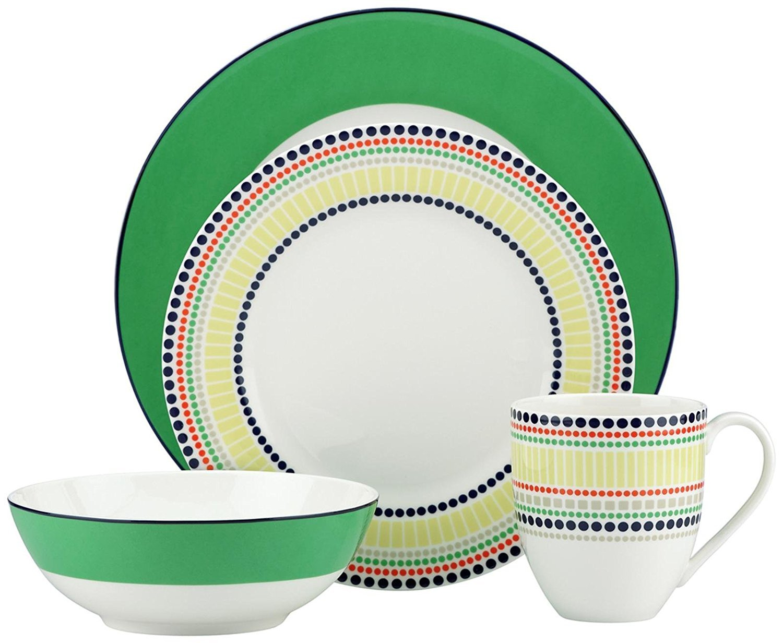 Kate Spade New York Hopscotch Drive Green Dinnerware 4-Piece Place Setting