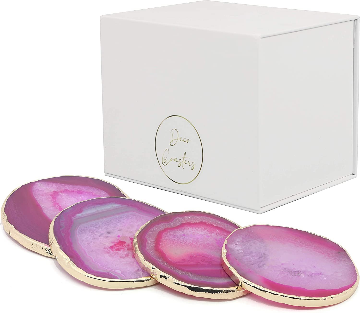 Oakland Mall Premium Agate Coaster Set of 4 Coasters Gold Memphis Mall Geode Hot Pink Rim