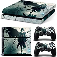CAN® Ps4 Console Designer Protective Vinyl Skin Decal Cover for Sony Playstation 4 & Remote Dualshock 4 Wireless Controller Stickers - Uchiha Sasuke NARUTO