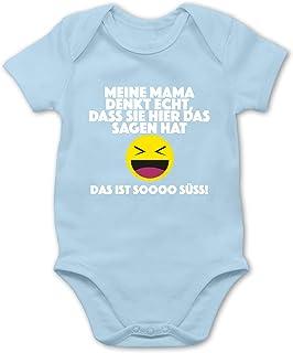 Shirtracer Emoticon - Meine Mama Denkt echt, DASS sie Hier das Sagen hat. Das ist Soooo süß! - Baby Body Kurzarm für Jungen und Mädchen