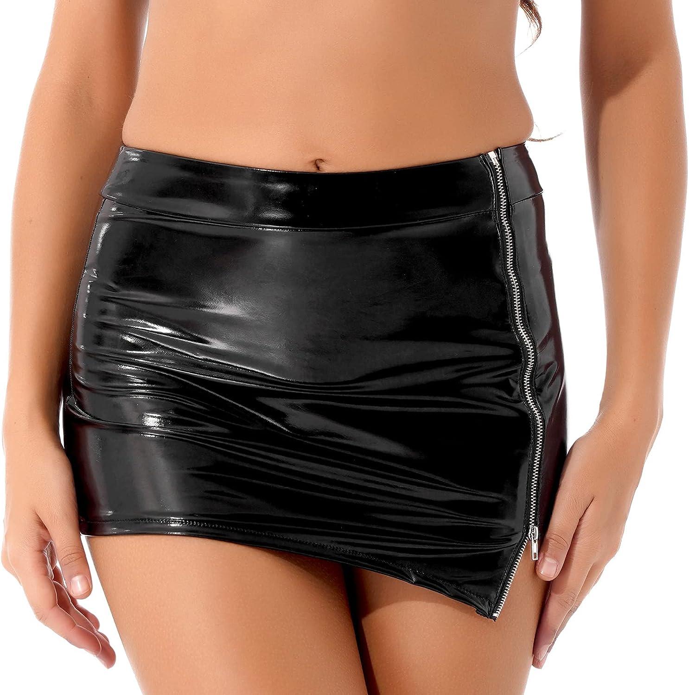 YONGHS Womens Wet Look Faux Leather Mini Pencil Skirt Asymmetric High Waisted Bodycon Skirt Clubwear