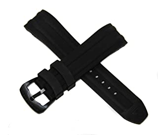 Swiss Legend 24MM Black Silicone Rubber Watch Strap w/Black Buckle fits 46mm/48mm Evolution Watch