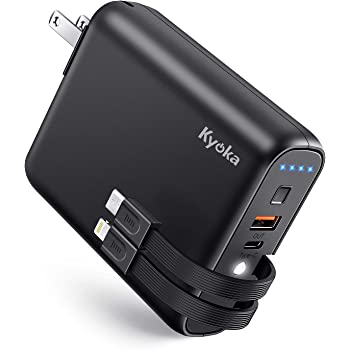 KYOKA モバイルバッテリー 9600mAh 【PD対応 18W & ケーブル内蔵 & 菱/丸PSE認証済】 USB-C急速充電器 大容量 軽量 急速充電 usb コンセント (Lightning/Type-C 2種類ケーブル内蔵) 最大5V/3A ACアダプター 折りたたみ式プラグ USB-C USB-A 2ポート LEDライト スマホ充電器 災害/旅行/アウトドア用 防災グッズ USB充電器 iPhone 12/12 Pro/iPad/Android各種他対応 (ブラック)