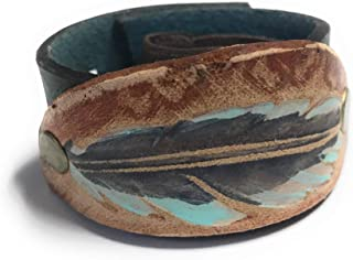Rustic Boho Blue Feather Riveted Oval Leather Ponytail Wrap Gift Idea for Her for Women with Long Hair