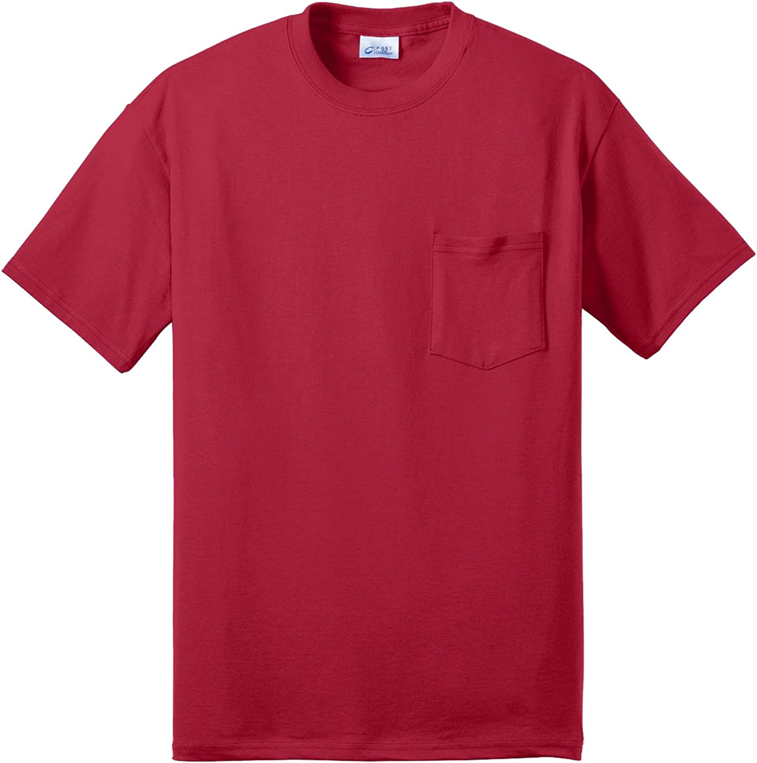 Port & Company 50/50 Cotton/Poly T-Shirt with Pocket (Red)
