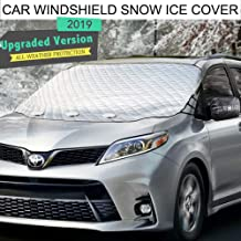 Car Windshield Snow Ice Cover,Windshield Frost Covers,Car Wiper Visor Frost Guard Protector,All Weather Summer Windproof Sun Shade for Cars/Trucks/Vans /SUV with Snow Shovel and Two Side Mirro Covers