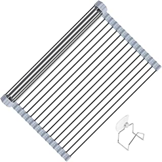 OVATA Over the Sink Dish Drying Rack Drainer (20.5 X 13 Inch) - Large Non-Slip Silicone Coated Stainless Steel Multi-Purpo...