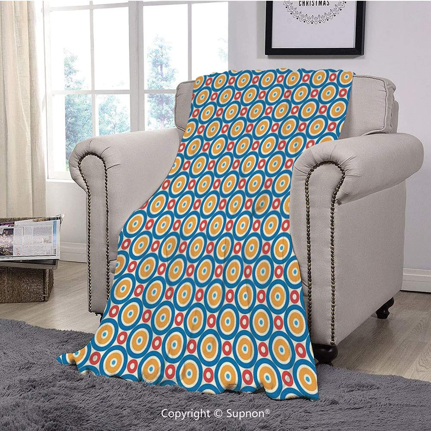 BeeMeng Throw Blanket Super Soft Fuzzy Light Blanket,Kids,Big and Small Circles with Dots Vibrant colord Symmetrical Tile Pattern,bluee Marigold Scarlet(51  x 51 )