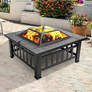 Outdoor Metal Square Fire Pit, 32
