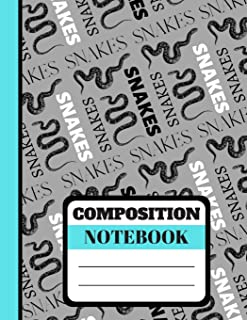 Composition Notebook: Trendy Snakes Image and Word Print - Lined College Ruled Notebook for Boys, Men, Students and Teachers