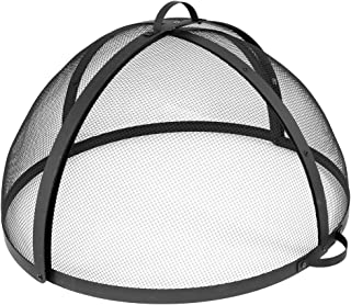 Sunnydaze Easy-Opening Fire Pit Spark Screen Cover Accessory - Outdoor Backyard Heavy-Duty Round Firepit Ember Arrester Lid with Hinged Door - 32 Inch