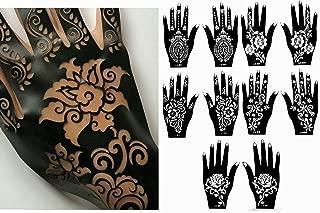 Henna Stencil Tattoo (10 Sheets) Self-Adhesive Beautiful Body Art Designs - Temporary Tattoo Templates