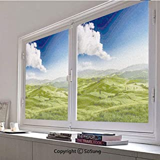 30x36 inch Window Privacy Film,View of Valley at Magical Sunset Country Road Rural Path Italian Romantic Deco Decorative Non-Adhesive Static Cling Frosted Window Film,Window Stickers for Kids Home Off