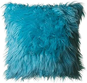 """North End Decor Faux Fur 18""""x18"""" with Insert, Mongolian Long Hair Turquoise Throw Pillows, 18x18 Stuffed, Blue"""