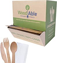 WoodAble - Disposable Wooden Cutlery Flowpack Dispenser | 150 Pieces (50 Individually Wrapped Sets of Fork, Knife and Spoo...