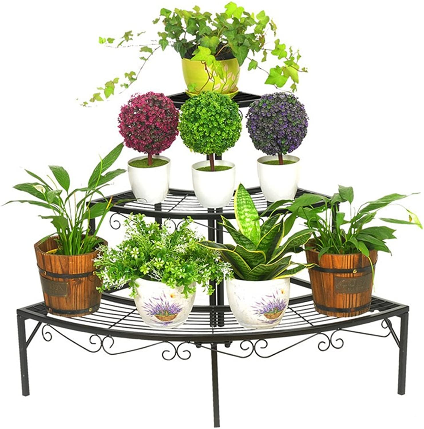 SYF Three-Layer Multi-Layer Anti-Corrosion Plant Display Frame Living Room Bedroom Balcony Decoration Garden Metal Shelf Indoor Outdoor Flower Stand Floor Stand 84x60x60CM A+