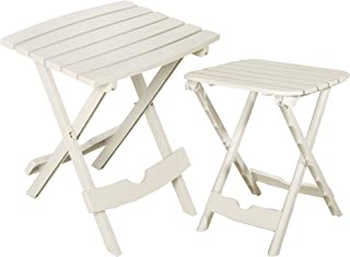 Adams Manufacturing 8592-48-3730 Quik-Fold Side Table & Tag-Along Table Bundle, White