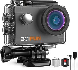 【4 K 2000万画素】BOIFUNアクションカメラ EIS手振れ補正 HIFI外部マイク WiFi搭載 リモコン付き 40M水中防水 1200mAh電池2つ 水中カメラ 車載モード スローモーション 170°大広角 ドライブレコーダー/ウェアラブルカメラ (4K 20MP)