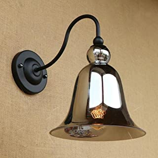 Crayom 1-Light Creative Simplicity Amber Glass Lampshade Wall Lamp Personality American Iron Metal Wall Sconce Corridor Aisle Staircase Edison E27 Industrial Wall Sconce